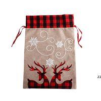 هدية عيد الميلاد حقيبة كيس الرباط غير القابلة للحمل سانتا كلوز كيس كبير قماش أكياس عيد الميلاد الديكور حزب اللوازم HWE9582