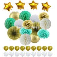 Mint weißes Gold Mischpapier Laterne, Papier Pom Pom, Blumenventilator und Ball, Latexfoil Ballon für Party hängen Dekor Gefallen Dekorative Blumen