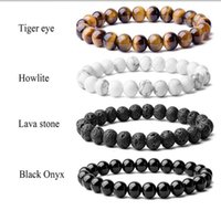 Beaded, Strands Beaded Bracelet 8mm Natural Stone Beads Men's Gorgeous Semi-Precious Black Onyx Lava Tiger Eye Healing For Women Men Jewelry