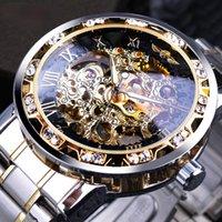 Gagnant transparent mode de diamant lumineux meublement mouvement royal design hommes masculin squelette manuel montre montre