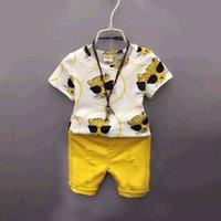 Boys Clothing Sets Kids Suit Children Wear Baby Clothes Children's Summer Short Sleeve T-shirts Leopard Print Hole Pants Shorts 2Pcs B6191