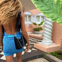 Beach Dress Y0603 2021 Summer Dress Women Sleeveless Hot Sexy Backless Halter Mini Dresses Bodycon Chic Cryptographic Fashion Knitted