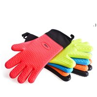 Heat Resistant Cooking Gloves Silicone Grilling Gloves Long Waterproof BBQ Kitchen Oven Mitts for Barbecue, Cooking, Baking NHE7531