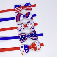 Independence Day Pet Tie Dog Tie Collar Bow Flower Accessories Decoration Supplies Pure Color Cat Bowknot Necktie T500724