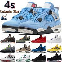 Universidad Azul 4 4S Zapatos de baloncesto para hombre Starfish Metálico Púrpura Negro Cat Cred Fuego Cactus Rojo Jack Men Mujer Sneakers US 5.5-13