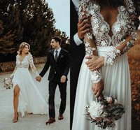 Modest 3D Floral Flowers Beach Boho Wedding Dresses Bridal Gowns for Women 2022 Lace Illusion Long Sleeves Applique Chiffon A line V neck Country Designer Court Train