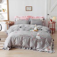 Bedding Sets Cartoon Floral Embroidery 100% Cotton Set Double Sheet Fitted Textile Linen Home Cover Pillowcases Duvet Bed