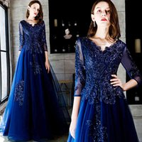 Party Dresses Blue long v neck sequines lady girl women princess bridesmaid banquet party ball dress gown 0NDW