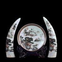 العتيقة جينغدتشن السيراميك إفطار العاج مجموعة الكلاسيكية الصينية التقليدية لوحة الحديثة الباستيل المزهريات الكبيرة