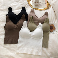 Women's Tanks & Camis EasyCore Girl Fashion Sexy Bra Tops Students I-shaped Sling Vest With Pad