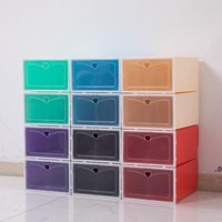 Foldable Storage Shoes Boxes Set Multicolor Plastic Clear Home Shoe Rack Organizer Stack Display Box EWA7472