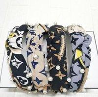 Coréen styles filles mode lettres imprimer fleurs motif de perle bandeau de nœud britannique cross noué poils bandes charme femmes hoop hoop dames coiffe accessoires
