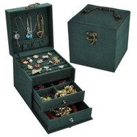 Vintage Jewlery Box European-Style Small Multi-Layer Plaid Bracelet Ear Stud Princess Simple Jewelry Storage Cosmetic Case 211014