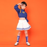 Children Girl Hip Hop Clothing Shirt Top Crop White Skirt For Kid Jazz Dance Cheerleader Costume Wear Ballroom Dancing Clothes Sets