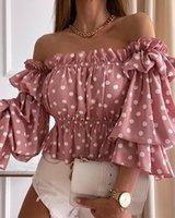 Women's Blouses & Shirts Elegant Long Puff Sleeve Corset Blouse Polka Dot Print Off Shoulder Shirred Top Lady T-Shirts