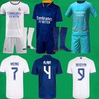 21 22 Real Madrid Football Jerseys Kits Accueil Troisième Camisa Dazard Alaba Benzema Asensio Modric Football Shirts Short Socks 2021 2022 Hommes Enfants Sets Stocking