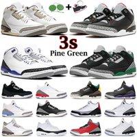 zapatos de baloncesto para hombre Jumpman 3s Pine Green Racer Blue Cool Green Georgetown Medium Royal Cemento Negro Blanco Fuego Rojo 3 Hombres Entrenadores Zapatillas deportivas al aire libre