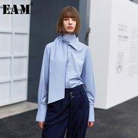 Женские блузки Рубашки [EAM] Женщины синий темперамент повязка Brandage Blouse High воротник с длинным рукавом свободная подходящая рубашка мода прилив весна осень 2021