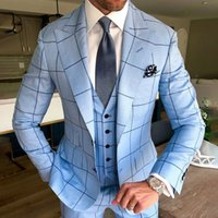 Three-Pieces Men Suits Business Casual tuxedos Blue Plaid Slim Fit Groom Party Coat Tailored Performance Work Wear Wedding Suit