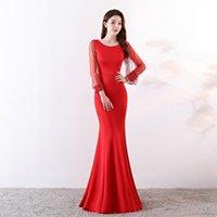 Платья для вечеринок Ensotek 2021 Red / Burgundy Длинное вечернее платье Кристалл из бисера Винтажные выпускные платья Vestido de Festa
