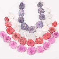 Freeform Solar Druzy Drusy Agates Slab Charms Beads Jewelry,Faceted Drilled Slice Sun Flower Loose Bracelet XFX-175AMCE