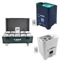 V-show Canada Warehouse 10pcs + Case 6x18W Batterie LED Uplight RGBWA UV 6 en 1 Lumières sans fil rechargeables PAR DMX Mariage UPLICHING