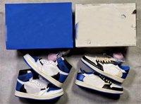 Travis Scott X Framment Design Authentic 1 High OG TS SP Uomo Scarpe basse Military Blue 1s Sail Black Shy Pink Donne DH3227-105 Sneakers all'aperto con scatola originale DM7866-140