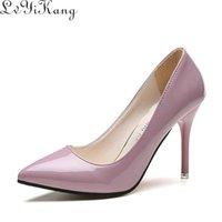 Elbise Ayakkabı Düşük Fiyat Kadın Sivri Burun Pompaları Patent Deri Yüksek Topuklu Tekne Düğün Zapatos Mujer 8.5 / 4 cm