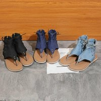 Sianie Tianie 2021 Summer Denim Jeans Casual Leisure Ladies Shoes Flats Sandals Womens Flip Flops Woman Big