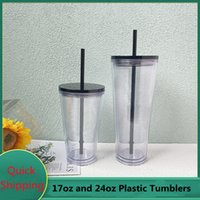 Clear 24oz Plastic Flat Lid Water Tumblers with Straw Double Walled Reusable Portable 710ml Office Coffee Mug Transparent 16oz Acrylic Drinking Cups DIY Custom Logo