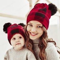Winter Hats for Parent-child Christmas Knitted Beanie Caps Girls Boys Plaid Print Fashion Warm Bonnet Cute Kids Cap Outdoor Hat