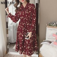 Casual Dresses 2021 Summer Autumn Women Chiffon Dress Long Sleeve Bow Neck Midi Female Vintage Floral Printed Party