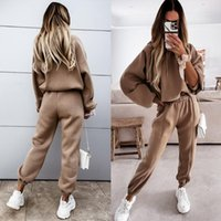 Women's Two Piece Pants Women Casual Tracksuit Autumn Winter Fashion Sports Hooded Sweatshirt Suits Solid Long Sleeve Tops + Pocket Sweatpan