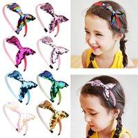 Coréen insens filles cheveux accessoires de cheveux 8 couleurs de paillettes mignonnes sirène arcs bandes de cheveux bébé enfant bambette élastique bandeau