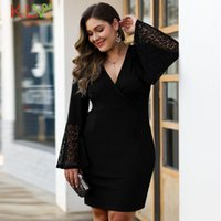 Casual Dresses Lace Dress Women Elegant Hollow High Waist Plus Size Formal Evening Black Party Night Vestidos Clothes 19Nv