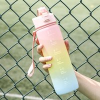 Wine Glasses 1000ml Simple Portable Gradient Color Large Capacity Plastic Water Cup Frosted Outdoor Gym Sports Big Bottle