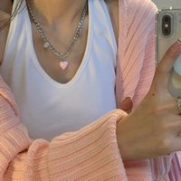 Titanium steel sweater checkerboard love necklace female dign sense sweet cool hip hop style personality niche simple sweater chain