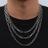 Chains 2021 Fashion Paperclip Chain Necklace Men Simple 45-60cm Stainless Steel Link For Jewelry Gift
