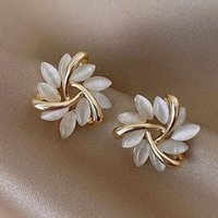 Stud Classic Jewelry Elegant And Exquisite Opal Petal Circle Earrings For Woman Luxury Party Girl's Unusual