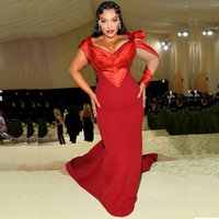 Plus Size One Long Sleeve Evening Dresses V Neck Red Mermaid Celebrity Gowns Satin Sweep Train Robe De Mariee