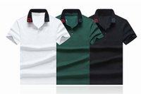 Lüks Moda Klasik erkek Mektup Arı Nakış Gömlek Pamuk Erkek Tasarımcı T-Shirt Beyaz Siyah Yeşil Tasarımcı Polo Gömlek Erkek M-2XL