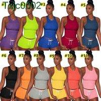 2021 Yaz Kadın Seksi Kısa Set Kıyafetler İki Adet Set Eşofman Jogger Suits Tank Üst + Şort Katı Renk Sweetsuit Artı Boyutu