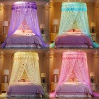 고귀한 보라색 핑크 웨딩 라운드 레이스 고밀도 공주 침대 그물 커튼 돔 퀸 캐노피 모기장 #SW 364 R2