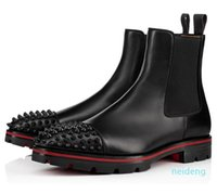 2021 Kış Marka Erkekler Çizmeler Kırmızı Alt Kavun Spike Ayak Bileği Çizmeler Süet Dalfskin Tuzaklı Dernekler Pabucu Tek Moda Patik
