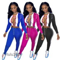 Mulheres duas peças pants conjuntos de desenhadoras slim sexy redondo pescoço de manga comprida calças de cor contraste de cor Splicing oco outfits lulu365