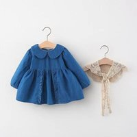 Girl's Dresses Autumn Baby Girls Long Sleeve Lapel Collar Denim Jeans Pleated Children Kids Dress + Lace Cape Vest 2Pcs Clothes Vestidos
