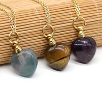 Pendant Necklaces Natural Stone Perfume Bottle Necklace Jewelry Heart Shaped Amethyst Charms For Elegant Women Love Romantic Gift 22x33mm