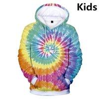 À 14 Kids Sweats à capuche 3D Cravate Teinture Flashbacks Sweats Hoodie Sweatshirt Garçons Filles Colorful Colorful Veste Vêtements Vêtements Sweat-shirts Femme
