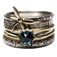 Cluster Rings Vintage Large Wedding For Women Luxury Lake Blue Crystal Gold Color Dragonfly Women's Ring Bridal Promise Jewelry Gift