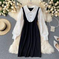 Women Autumn French Retro Dress Preppy Jersey Mesh Patchwork Long Sleeve Lace Fake Two-Piece Female Vestidos PL459 210506